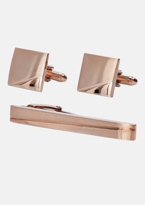 Rose Gold Cufflink & Tie Pin Set