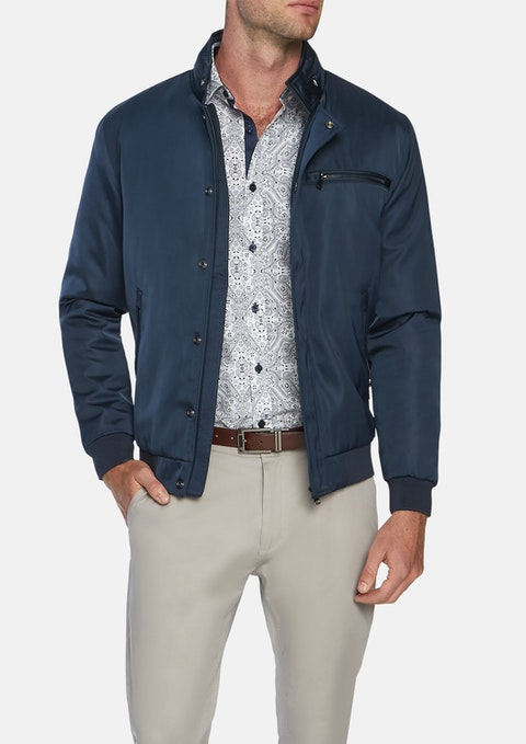 Navy Tycoon Zip Bomber Jacket