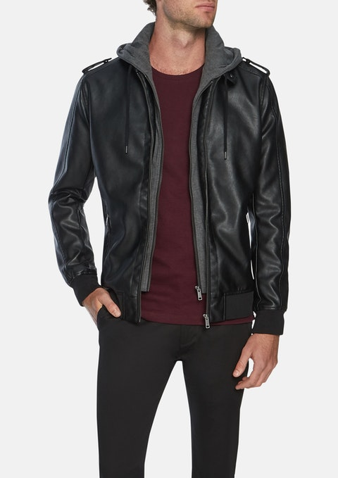 Black Marshall Pu Bomber Jacket