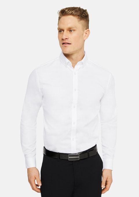 White Bermuda Slim Easy Iron Shirt