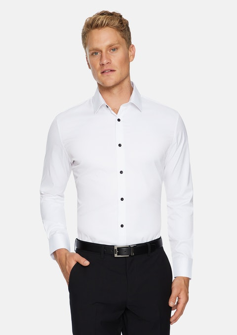White Portland Slim Str Non Iron Shirt