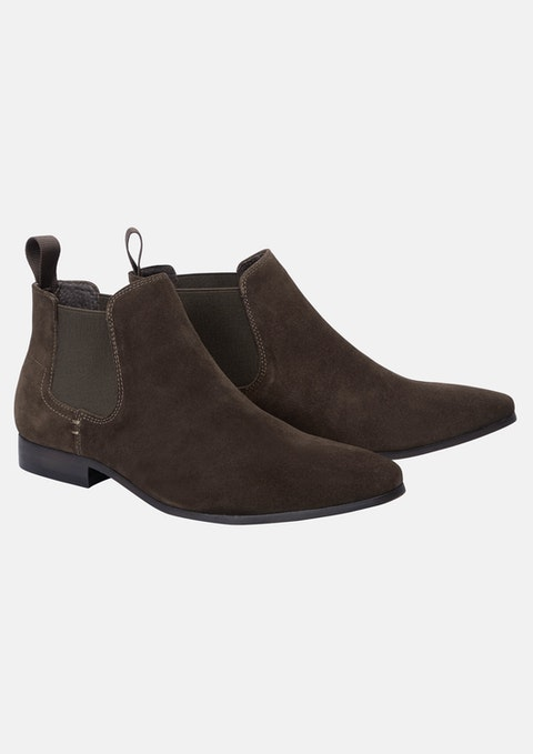 Chocolate Brixton Suede Gusset Boot
