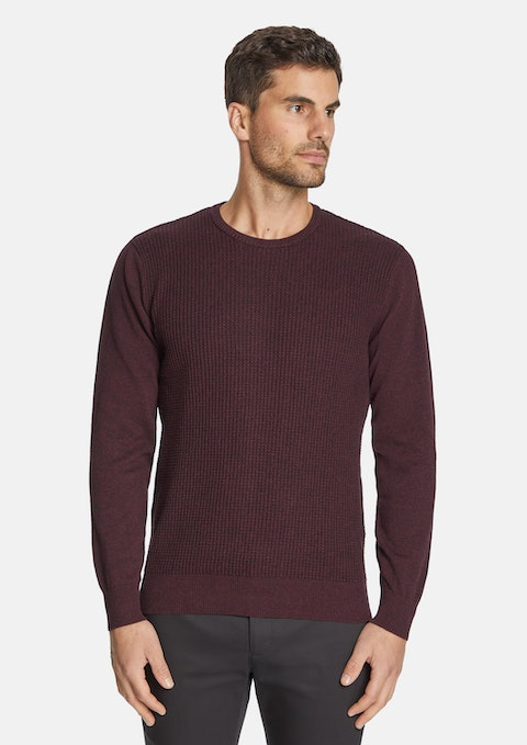 Burgundy Jackson Crew Neck Knit