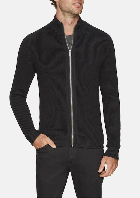Black Chase Zip Thru Knit