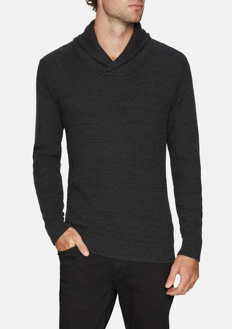 Charcoal Colby Shawl Collar Knit