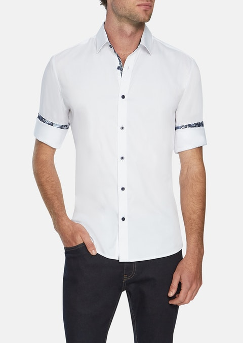 White Pratt Slim Stretch Shirt