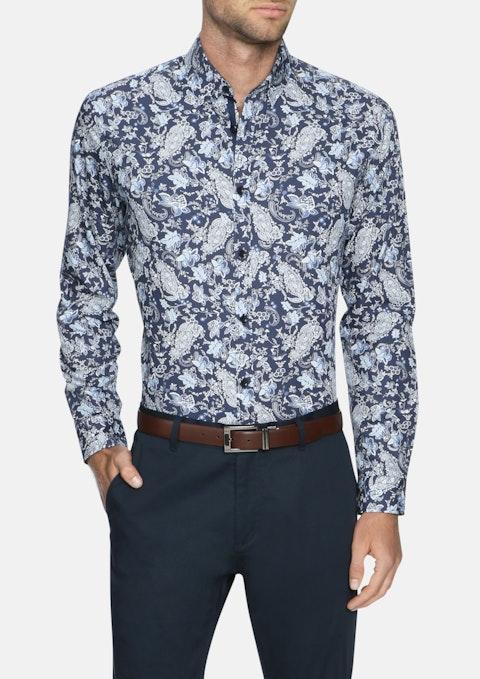 Navy Lawrence Paisley Print Shirt