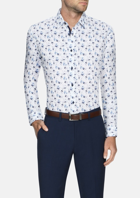 White Harlem Stretch Floral Shirt
