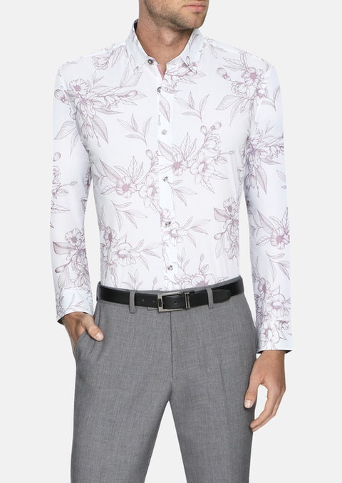 White Madison Slim Stretch Floral Shirt