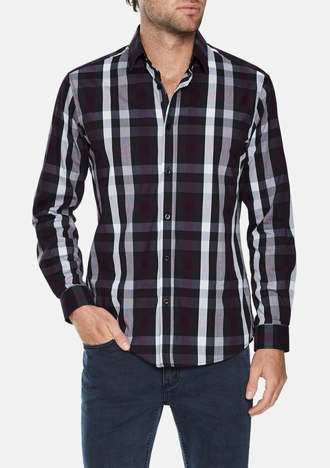 Burgundy Rowan Stretch Check Shirt