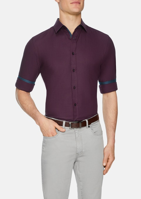 Burgundy Idris Textured Slim Shirt
