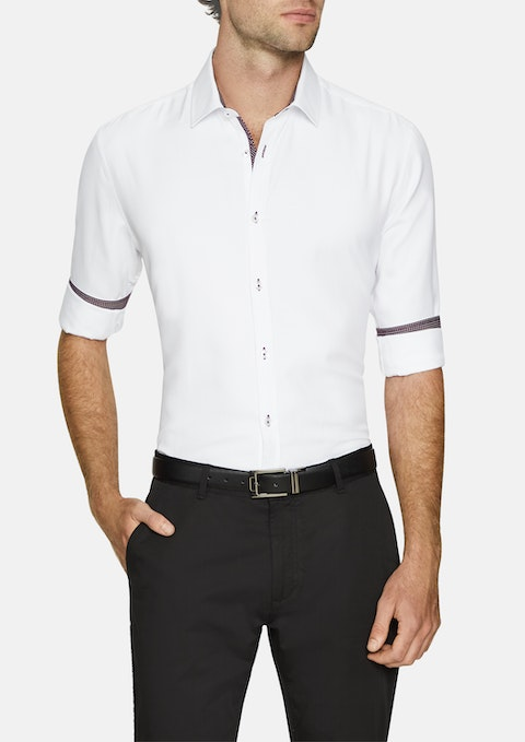 White Casper Textured Slim Shirt