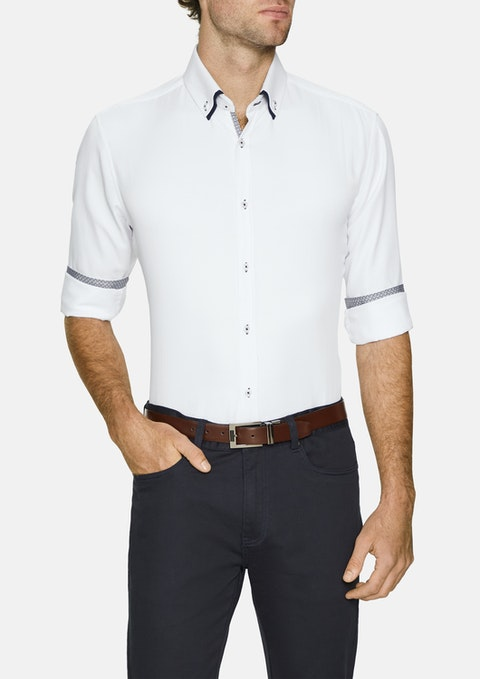 White Archie Textured Shirt