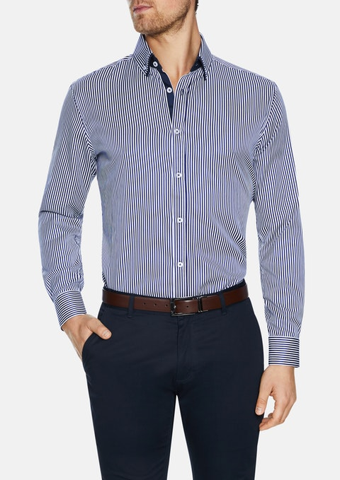 Navy Chaplin Stripe Shirt