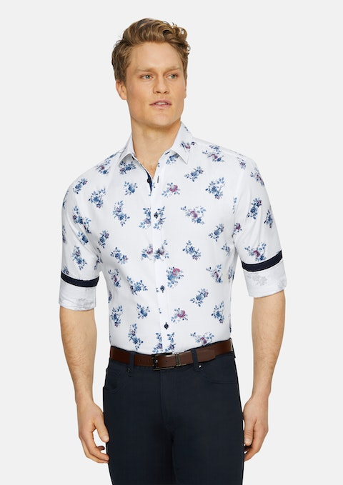 White Morgan Slim Print Shirt