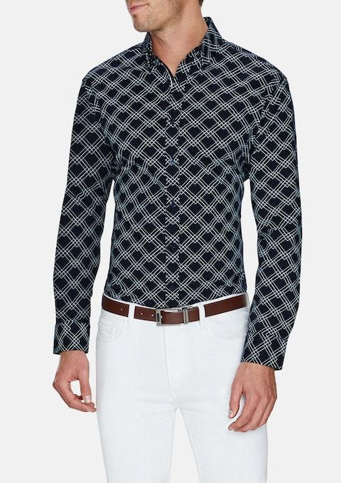 Navy Jetson Slim Stretch Print Shirt