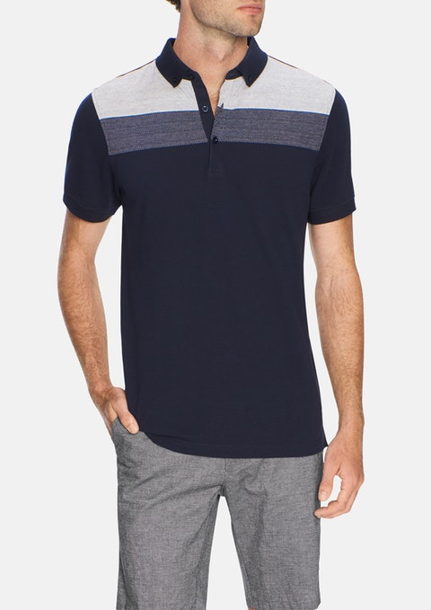 Navy Ritchie Panel Polo