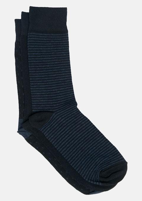 Navy 3 Pack Jacquard Sock