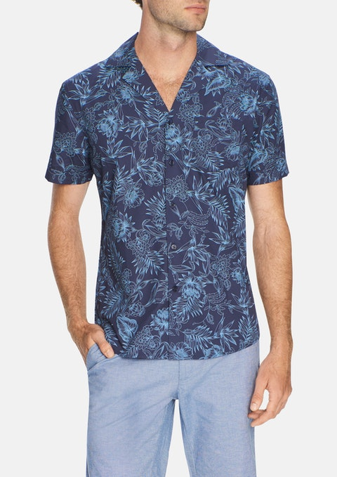 Navy Cuban Print Shirt