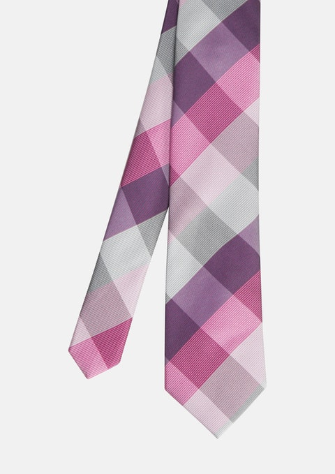 Pink Harvey Large Check Tie