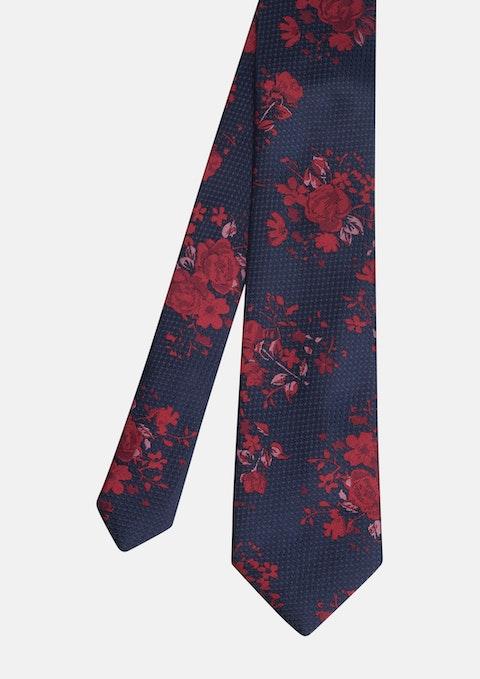 Navy Tanner Floral Tie