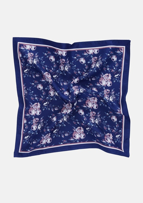 Navy Botany Pocket Square