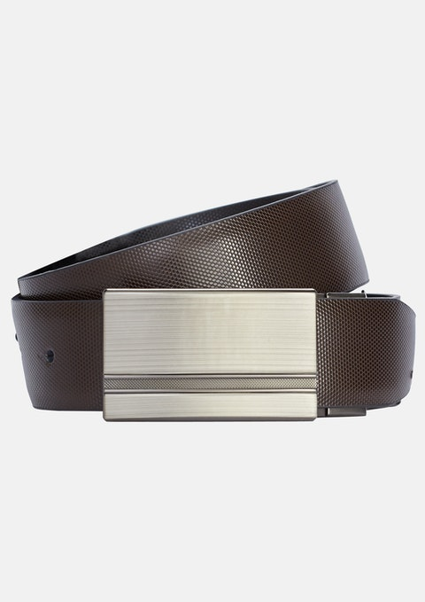 Choc/blk Noah Textured Reversible Belt