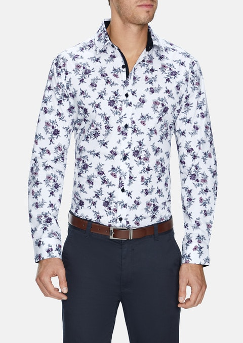 White Rick Stretch Floral Shirt