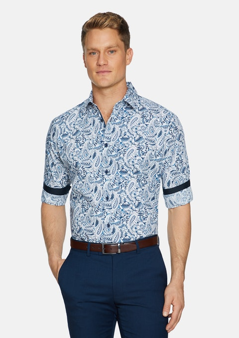 Blue Sandown Paisley Print Shirt