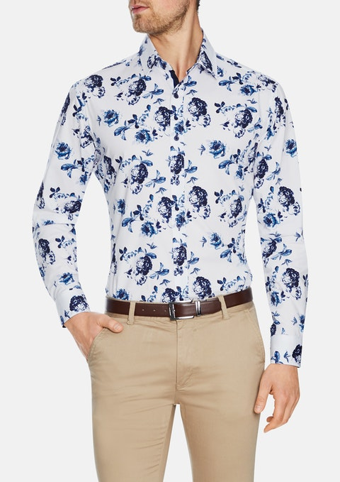 White Saratogo Slim Stretch Floral Shirt