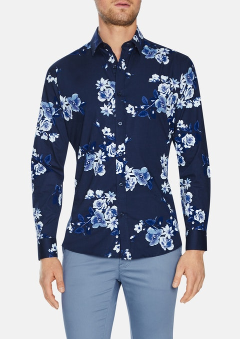 Navy Wexford Slim Stretch  Floral Shirt
