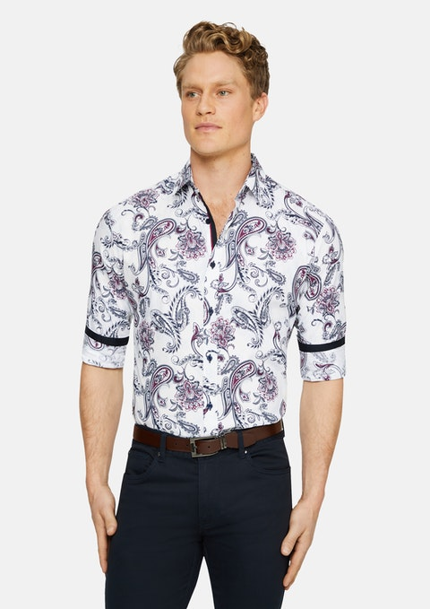 White Bellevue Slim Floral Print Shirt