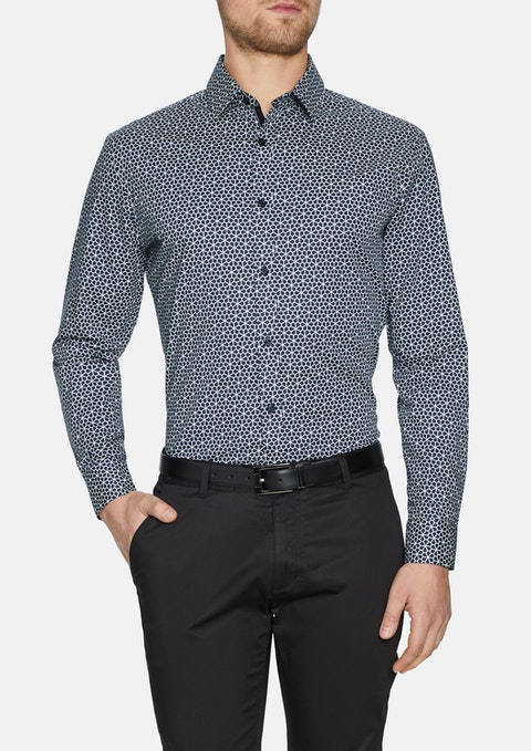 Charcoal Flores Slim Stretch Geo Shirt