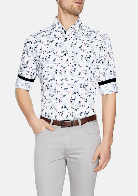 White Lawrence Floral Print Shirt