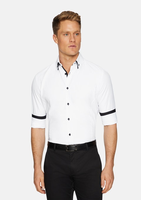 White Rocky Slim Textured Shirt