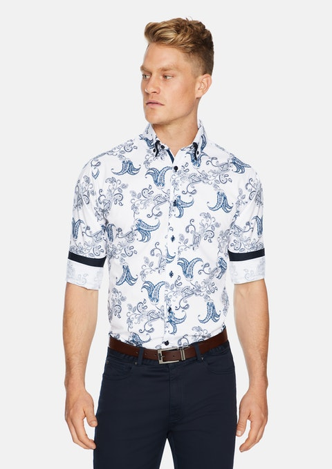 White Romero Slim Stretch Print Shirt