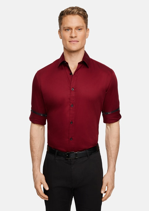 Red Vallen Slim Stretch Shirt