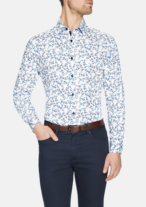 White Jared Florl Print Shirt