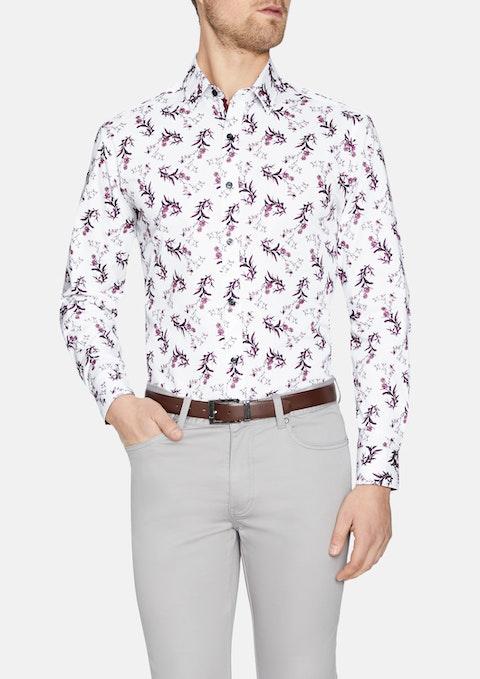 White Quinn Floral Print Shirt