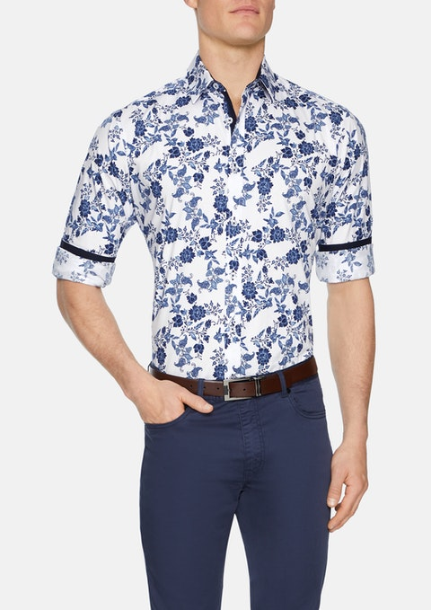 White Hindley Floral Stretch Shirt
