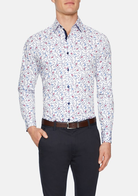 White Rundle Floral Stretch Shirt