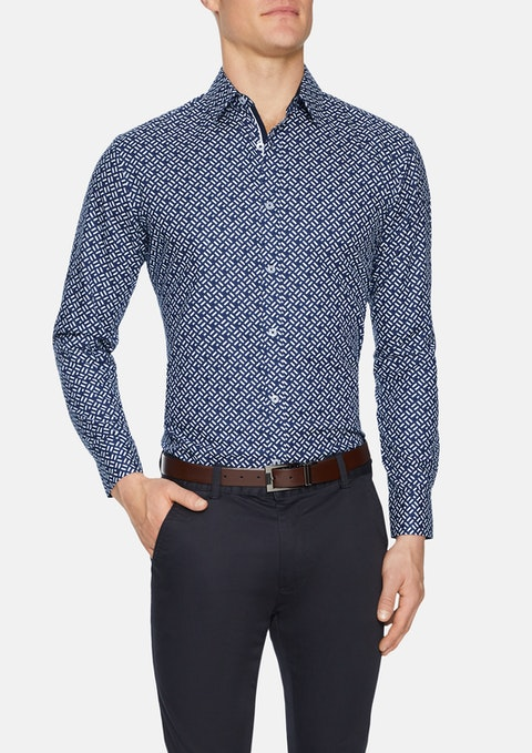 Navy Havelock Slim Geo Print Shirt