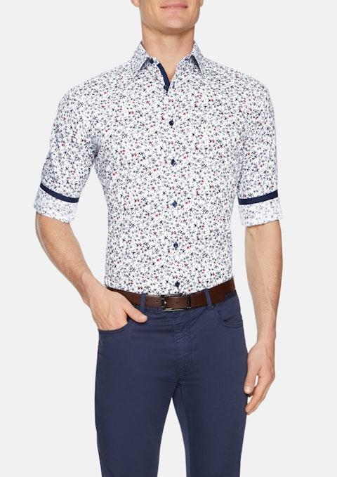Blue Henley Slim Floral Print Shirt