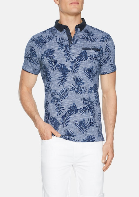 Navy Bourke Floral Print Polo