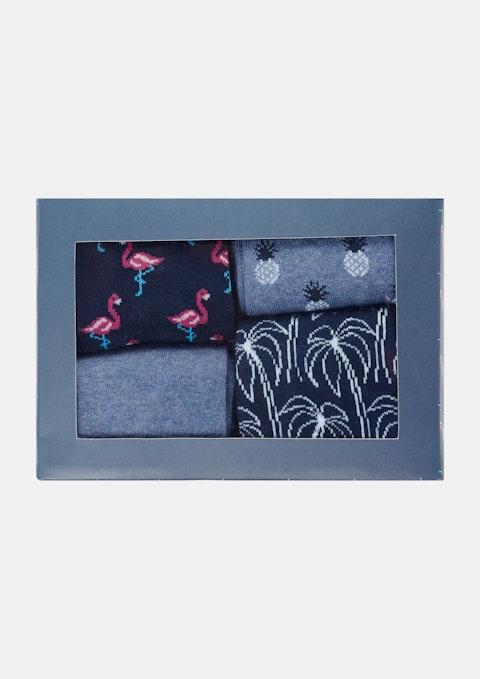 Navy Flamingo Sock Box