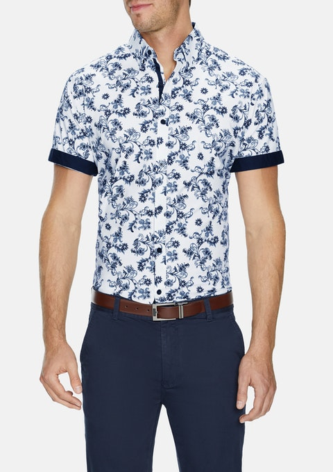 White Delano Stretch Print Shirt