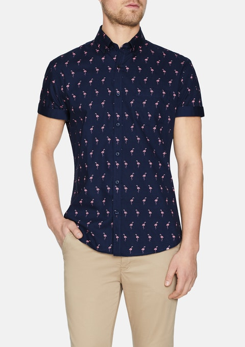 Navy Paradise Flamingo Print Shirt