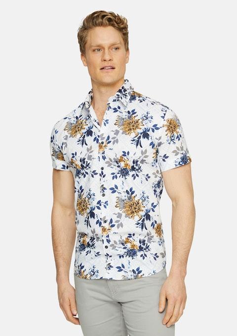 Mustard Belair Stretch Floral Print Shirt