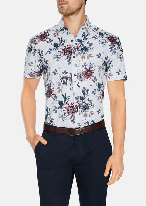 White Belair Stretch Floral Print Shirt