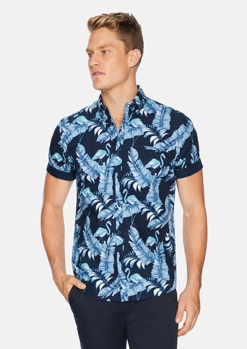 Navy Key Largo Flamingo Print Shirt